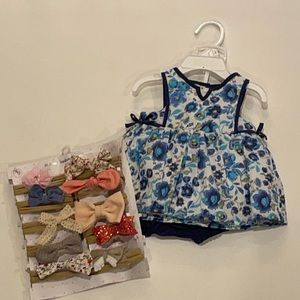 Baby girl blue matching set with hair bows!